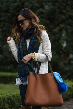 plaid scarf + holiday outfit