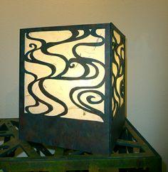 Water Lamp  Scrollcut wood with fluorescent light  11 x 9 x 9 in.  June Sekiguchi