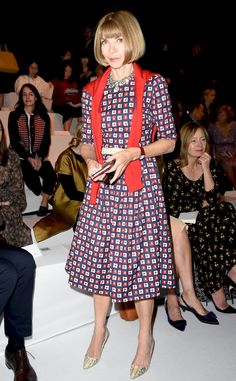 Anna Wintour from Stars at Milan Fashion Week Spring 2015  Also at the Max Mara show, Anna works a fall-hued frock.