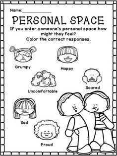 Personal Space: Social Skills Worksheets, Activities