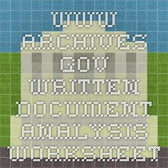 www.archives.gov written document Analysis Worksheet