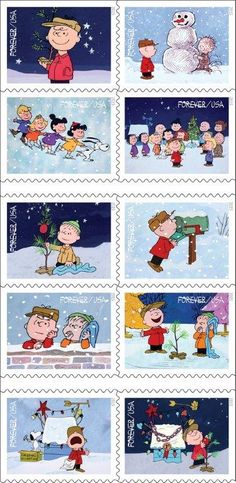 """An iconic children's animated Christmas classic, """"A Charlie Brown Christmas,"""" will be immortalized by the U.S. Postal Service with a 10-stamp release in October. The stamp set chronicles Charlie Brown's quest to find the true meaning of Christmas."""