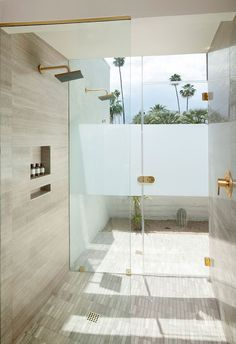A shower at L'Horizon Resort and Spa in Palm Springs, California by Steve Hermann Design. Photography by Jim Bartsch.