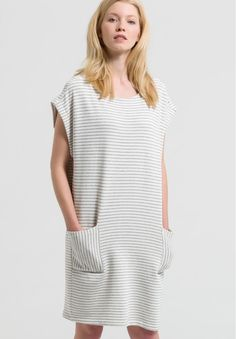 Mareike Stripes - Kleider Fleece Streifen - off white-grey melange