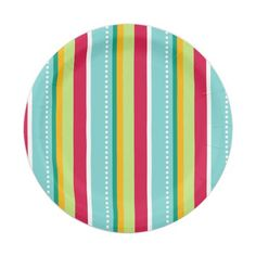 Striped Holiday Party 7 Inch Paper Plate