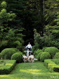 Romualdez's close friend Miranda Brooks and her daughter Violette Grey (his goddaughter) shepherd lambs through the boxwood shadow garden.