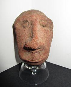Pre-Columbian Stone Head In Solid Condition