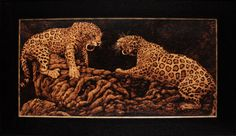 Territory  Framed Pyrography of Two Jaguars by HAWKESPYROGRAPHY, $675.00
