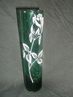 Hand engraved Rose Bud / etched vase by GlassWithPizazzEtc on Etsy, $15.00