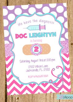 Doc McStuffins Inspired Printable Birthday Invitation, Personalized Birthday Invite