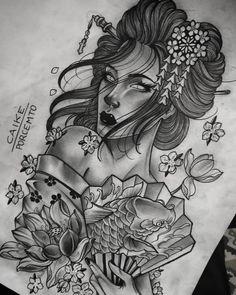 Line Tattoos, Sleeve Tattoos, Sexy Tattoos, Angel Tattoo Designs, Tattoo Designs Men, Tattoo Sketches, Tattoo Drawings, Geisha Tattoo Design, Arte Cholo