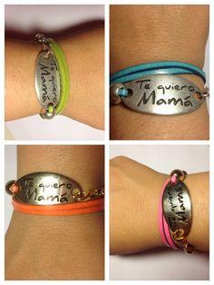 Así quedan las pulseras de tireta fina con varias vueltas y mensaje Te quiero mamá
