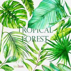 Les feuilles aquarelle Bright Tropical. Peint à la par ReachDreams