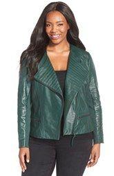 Sejour Quilt Detail Leather Jacket (Plus Size)