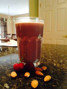 Cherry, chocolate, and almond breakfast smoothie.