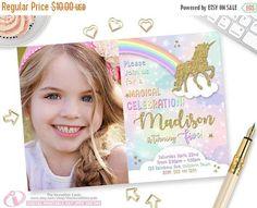 Printable Rainbow Birthday Invitations ~ Unicorn magical party invitation unicorn birthday pastel gold