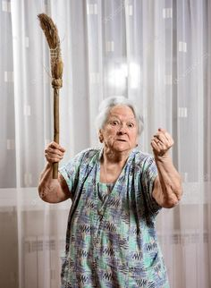 Download - Old angry woman threatening with a broom — Stock Image Angry Women, Caucasian People, 1 Image, Home Photo, Photo Library, Royalty Free Images, Men Casual, Stock Photos, Female