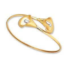 Lily Bangle Bracelet 14K Two-Tone Gold