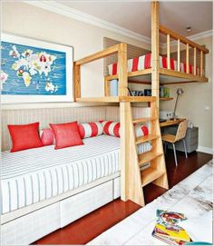 Bunk Bed with Study Table Underneath Kids Rooms Designs