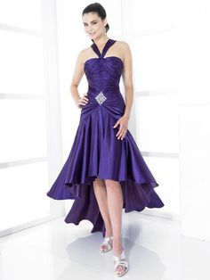 A-line Straps Elastic Woven Satin Asymmetrical Purple Beading Prom Dresses at Millybridal.com