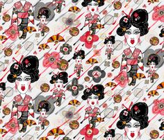 Geisha in the Garden, large scale fabric by amy_g on Spoonflower - custom fabric