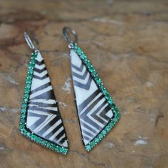 E19-African Batik Bone Triangle Earrings with Emeralds and Black Spinel