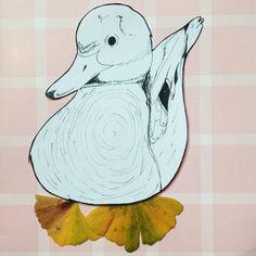 13 - Coin coin.  #flowleaf2015 #duck #drawing #ink #leaf #leaves #autumn #fall #ginkgo #ginkgobiloba