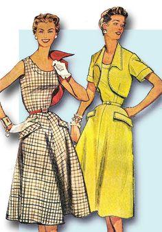 1950s Vintage Simplicity Sewing Pattern 4710 Uncut Misses Dress & Bolero Size 12