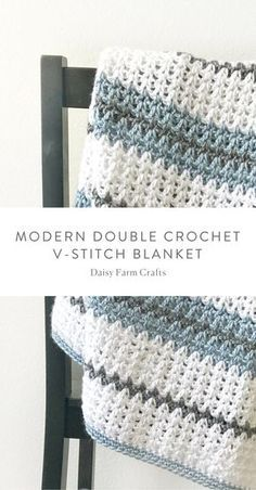 Free Pattern - Modern Double Crochet V-Stitch Blanket