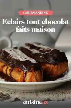 Vous raffolez des éclairs tout chocolat faits maison ? Nous vous donnons la recette de la pâte à chou, de la crème et du glaçage pour les préparer. #recette #cuisine #eclair #chocolat #faitmaison #pateachou #patisserie Le Boudin, Muffin, Pie, Bread, Breakfast, Desserts, Cooking Recipes, Drinks, Homemade Chocolates