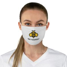 Bee Yourself Reusable Face Mask Love Store, White Face Mask, Rosie The Riveter, Hippie Chick, Halloween Face Mask, Mask Making, Sell On Etsy, Woman Face, Peace And Love