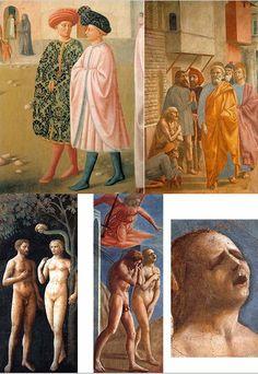 Fresques de la chapelle Brancacci, transept droit de l'église Santa Maria del Carmine (rive gauche de l'Arno), Florence. Masolino et Masaccio, vers 1426-1427. Terminées par Filippino Lippi vers 1480. Détails : Saint Pierre guérissant un infirme (Masolino) // L'ombre de saint Pierre guérissant les malades (Masaccio) ; Le Péché originel (Masolino) // Adam et Eve chassés du Paradis terrestre (Masaccio).