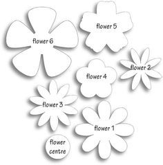 Different flower patterns, maybe for making flower pins? Different flower patterns, maybe for making flower pins? Giant Paper Flowers, Diy Flowers, Fabric Flowers, Flower Paper, Paper Butterflies, Simple Paper Flower, Scrapbook Paper Flowers, Origami Flowers, Spring Flowers