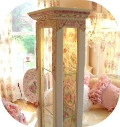 Romancing the rose studio curio, shabby chic, romantic country, lighted cabinet