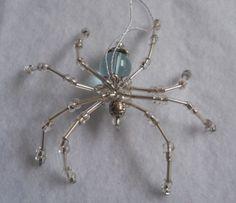 Beaded-Spider-Light-Blue-Halloween-Christmas-Ornament-Handmade-Translucent