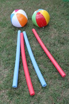 Pool Noodle and Beach Ball fun