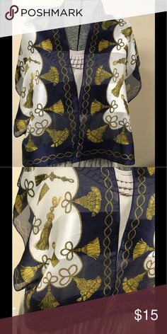 """Navy Cream Tassel (Look) Scarf Gorgeous navy and cream scarf with gold tassel imprint.  Measures 11-1/2""""x54"""". Accessories Scarves & Wraps"""