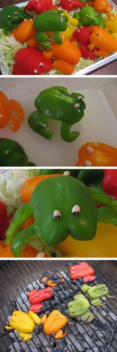 Love grilled peppers and what a fun idea/way to get kids to eat their veggies as well! Cute Food, Good Food, Yummy Food, Grilled Peppers, Healthy Snacks, Healthy Recipes, Veggie Recipes, Snacks Für Party, Fruit Party