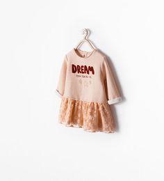 ZARA - KIDS - MIXED FABRIC DRESS WITH TEXT
