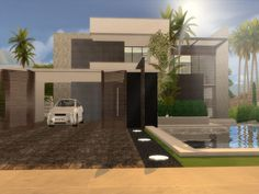 Modern Home featuring kitchen with breakfast bar ,dining area,and livingroom.  Found in TSR Category 'Sims 4 Residential Lots'
