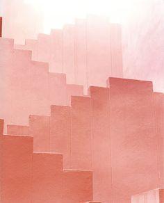 Sketches of Spain: Hidden Spanish Architecture Through Ola Kolehmainen's Lenses,Red Staircase Image © Ola Kolehmainen. Minimal Photography, Art Photography, Levitation Photography, Experimental Photography, Exposure Photography, Contemporary Photography, Sketches Of Spain, Spanish Architecture, Paper Architecture