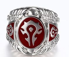Buy World of Warcraft Ring Stainless Steel Red Horde online $10.78 with FREE shipping!!    #warcraft #worldofwarcraft #warcraftmovie #wowaddict #warlordsofdraenor #frostmourne #horde #alliance #blizzard #warcraftaddict #forthealliance #forthehorde #azeroth #heartstone #overwatch #videogames #gameaddict