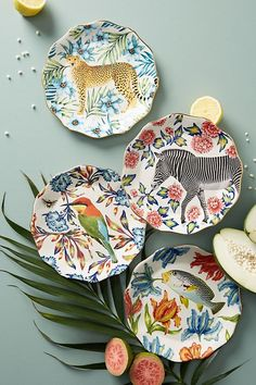 Tropical Trend Dining and Summer Party Anthropologie Nature Table Dessert Plate *afflink* Ceramic Decor, Ceramic Plates, Ceramic Art, Decorative Plates, Ceramic Pottery, Design Plat, Plate Design, Pottery Painting, Ceramic Painting