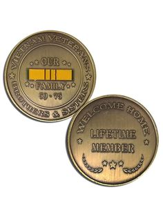 Double-sided collectible Veteran Service Vietnam Coins with uncomparable design. They are appreciated not only by Vietnam Veterans, but also by the families, and supporters of our country. This is a g