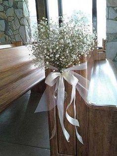 Wedding Pew Decorations, Wedding Pews, Chapel Wedding, Wedding Chairs, Wedding Table, Rustic Wedding, Fall Wedding, Simple Church Wedding, Wedding Church Aisle