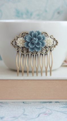 Dusty Blue Chrysanthemum Rose, Ivory Daisy Flower Hair Comb, Bridesmaid Gift. Blue Bridal, Vintage Rustic Dusky Blue Wedding, Something Blue.  https://www.etsy.com/listing/152924782/dusty-blue-chrysanthemum-rose-ivory?ref=shop_home_feat_3https://www.etsy.com/listing/152924782/dusty-blue-chrysanthemum-rose-ivory?ref=shop_home_feat_3
