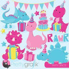 pink dinosaur girl clipart