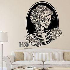Cabeca-cranio-removivel-Tatuagem-Horror-Zumbi-Vinil-Adesivo-Decalque-De-Parede-Decoracao-De-Casa