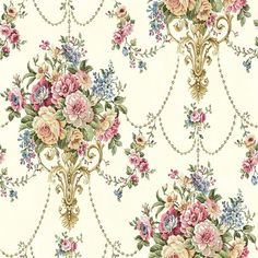 - Wallquest Summer Park Boquet Wallpaper in Blue - GoingDecor Victorian Wall Decor, Victorian Curtains, Victorian Wallpaper, Antique Wallpaper, Flowery Wallpaper, Pattern Wallpaper, Wallpaper Designs, Vintage Floral, Vintage Paper