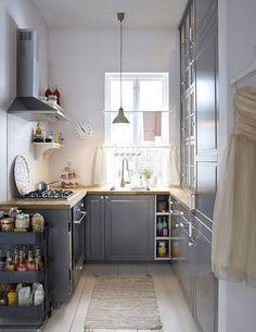 Διαμορφώσεις - σχεδιασμός για Μικρές Κουζίνες Kitchen Cabinet Design, Kitchen Layout, Grey Kitchens, Home Kitchens, Small Kitchens, Cozy Kitchen, Kitchen Decor, Kitchen Ideas, Kitchen Grey